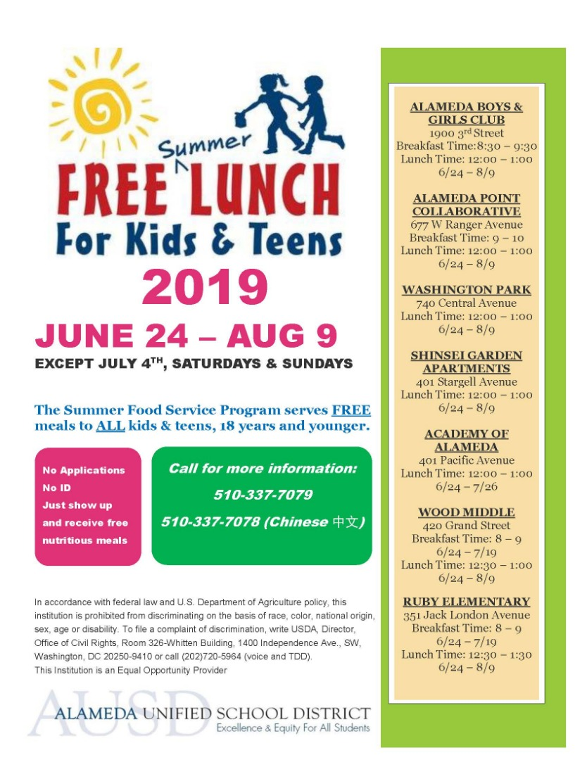 flyer for free summer meals program