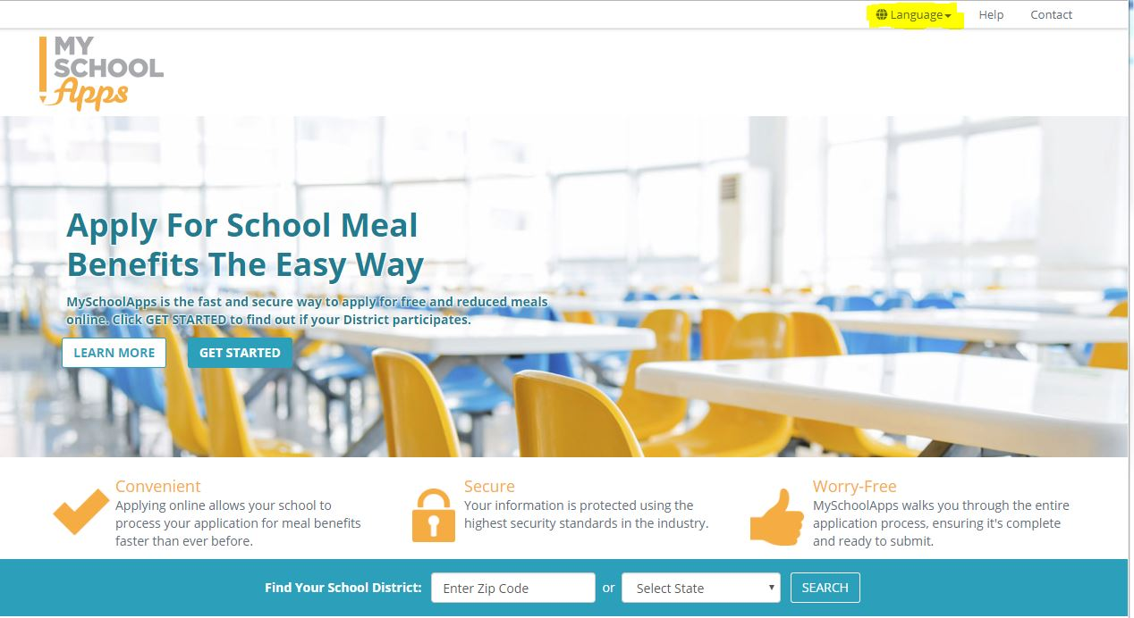 school meal application