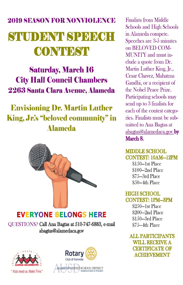 Details on season for nonviolence student speech contest