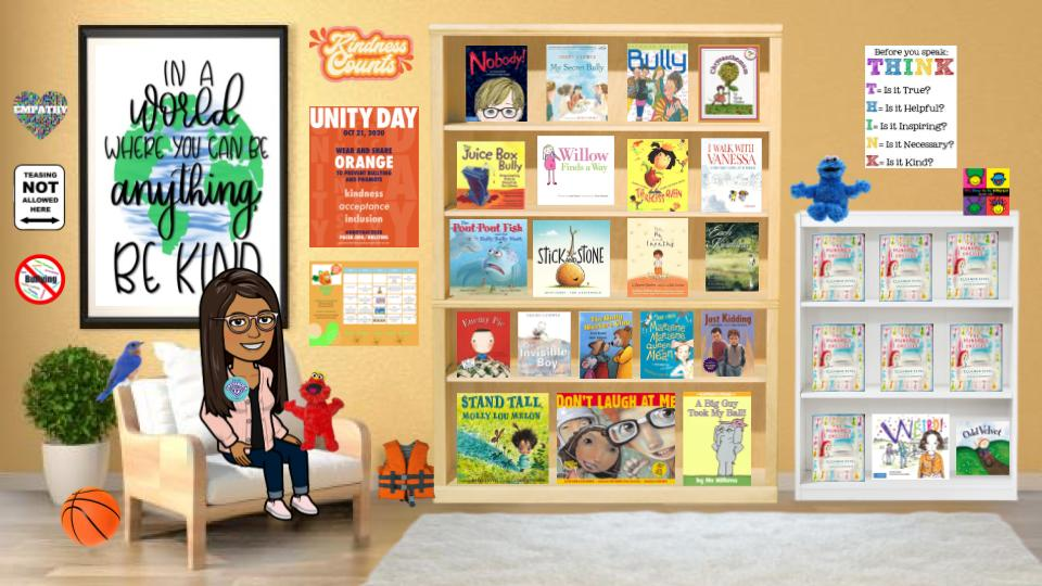 Classroom image with stop bullying books and activities