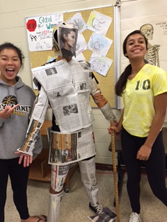 Using newspaper to estimate the surface area of the body.