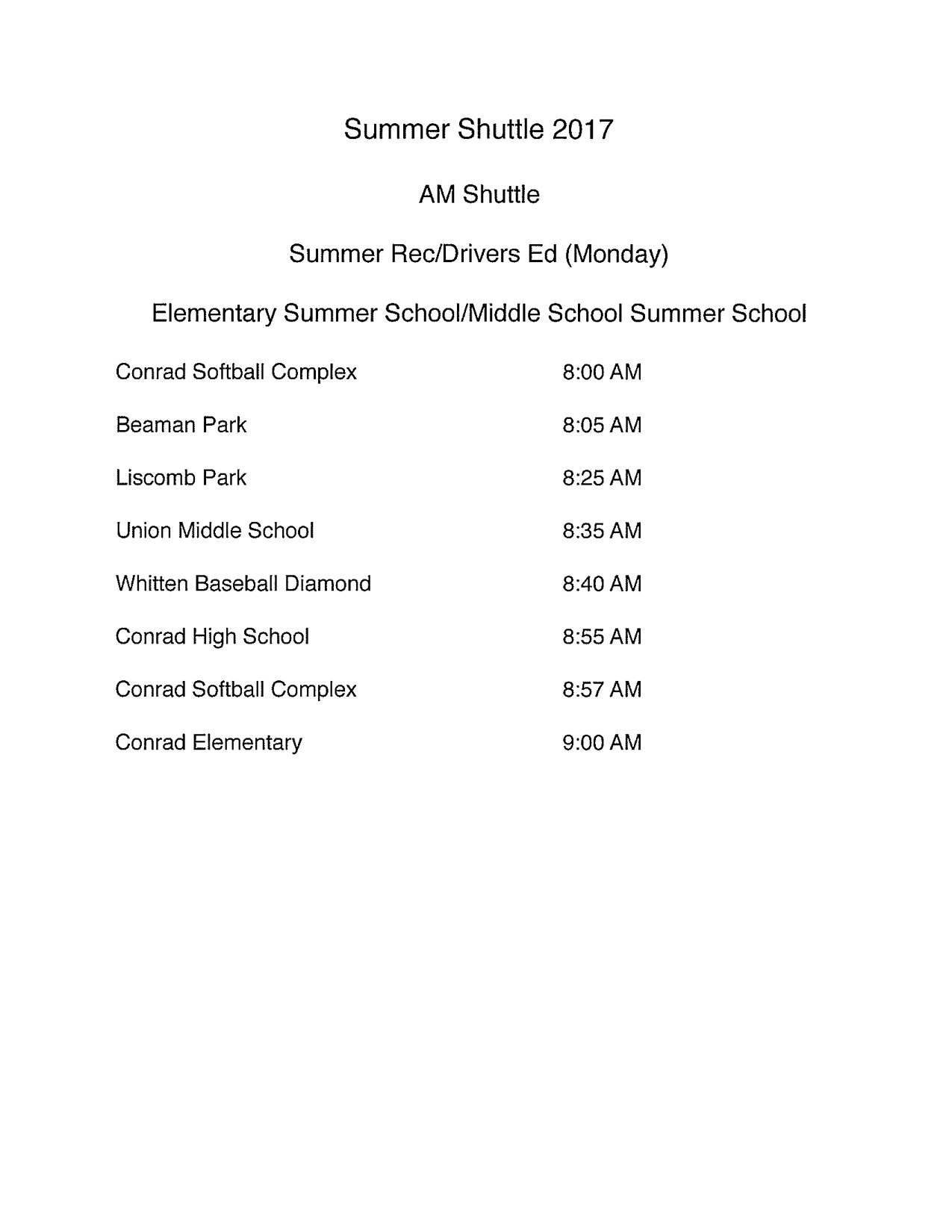 Summer Shuttle Schedule
