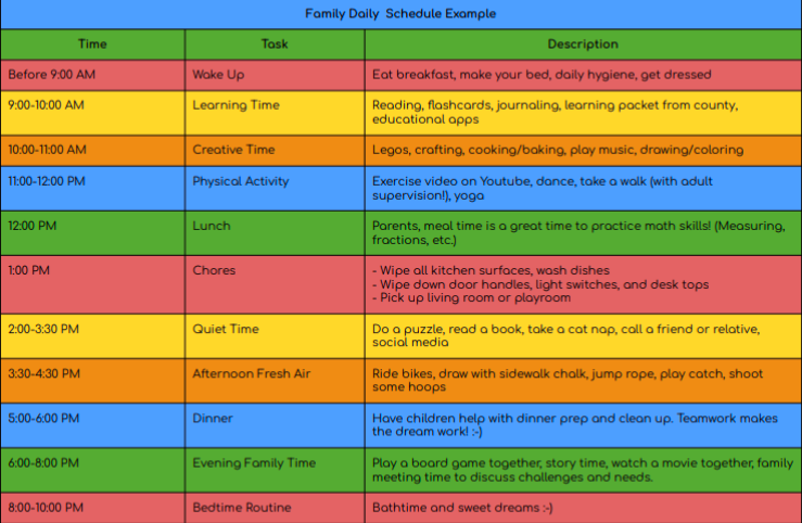 Screenshot of Family Daily Schedule