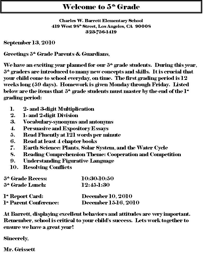 WELCOME LETTER FOR PARENTS AND GUARDIANS