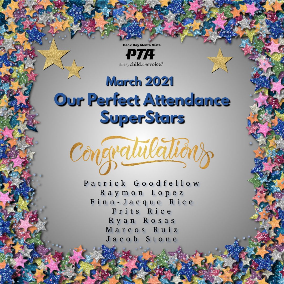 March Perfect Attendance Students