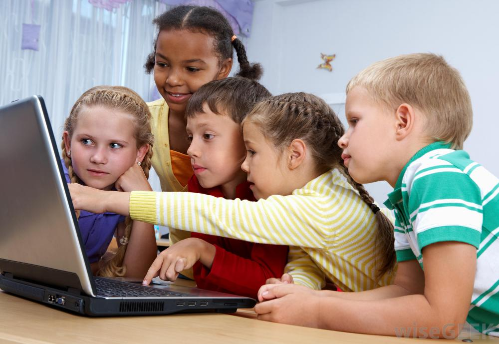 kids around a computer