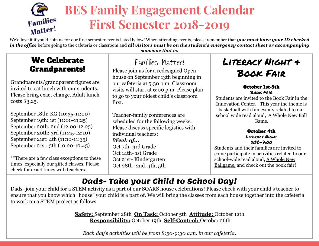 Family Engagement Calendar