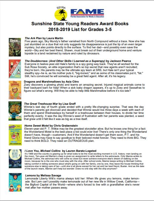 2018-2019 Sunshine State Young Readers Award Books Pg.1