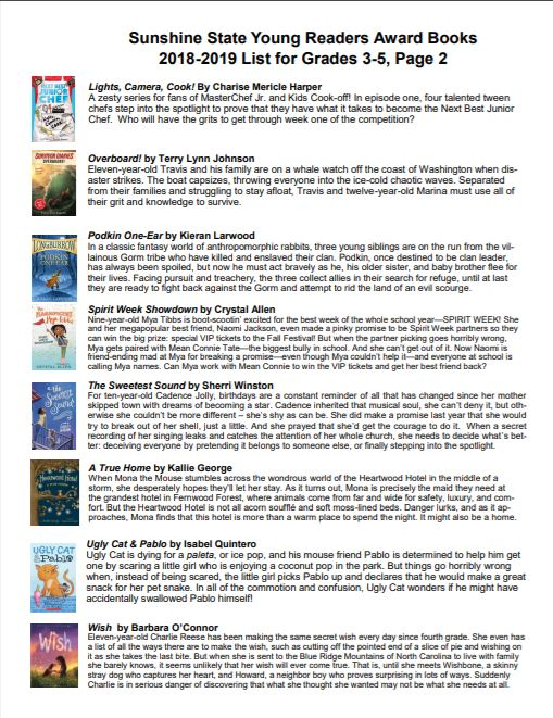 2018-2019 Sunshine State Young Readers Award Books Pg.2