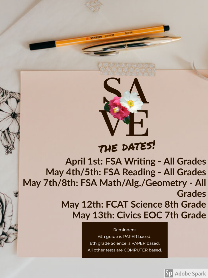 Save the Testing Dates!