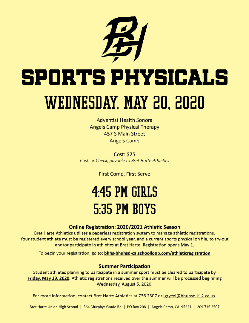 BH Sports Physicals May 20, 2020