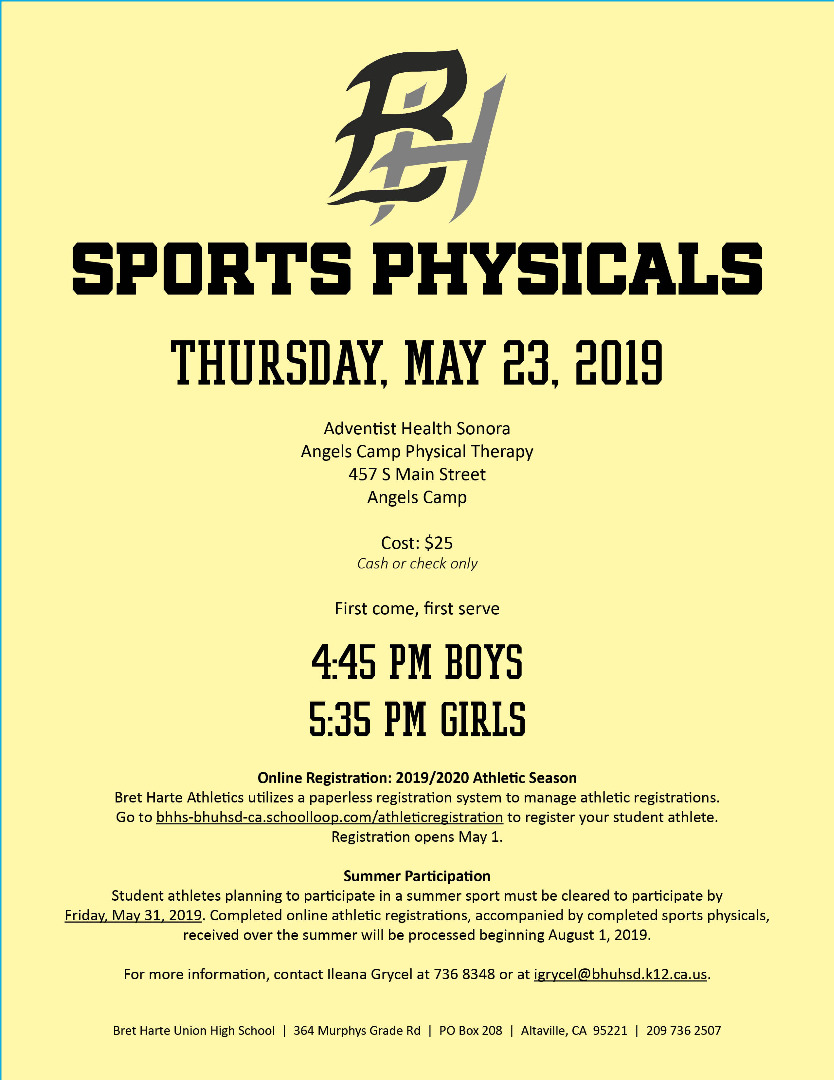 Sports Physicals May 23 2019