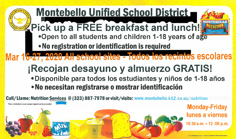 Free Breakfast and Lunch at any school, 10:30am - 12pm. No registration or  identification required.