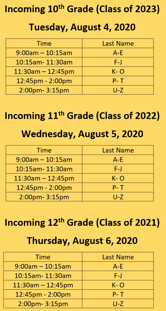 Textbook Drop off Schedule