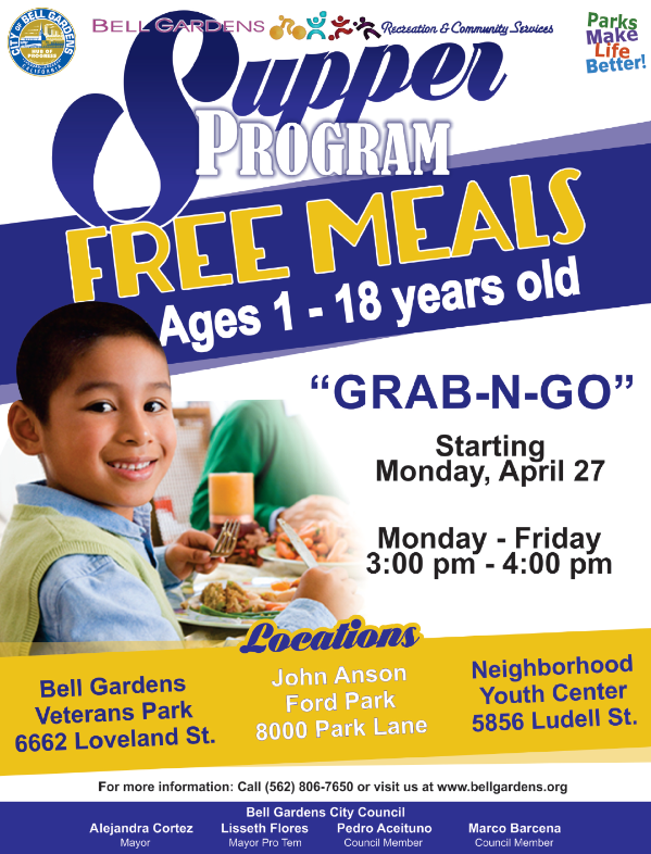 Free Supper Meals Starting 4/27 3-4pm at Parks
