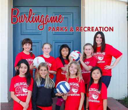 Burlingame Parks & Rec Catalog Cover with girls volleyball team.