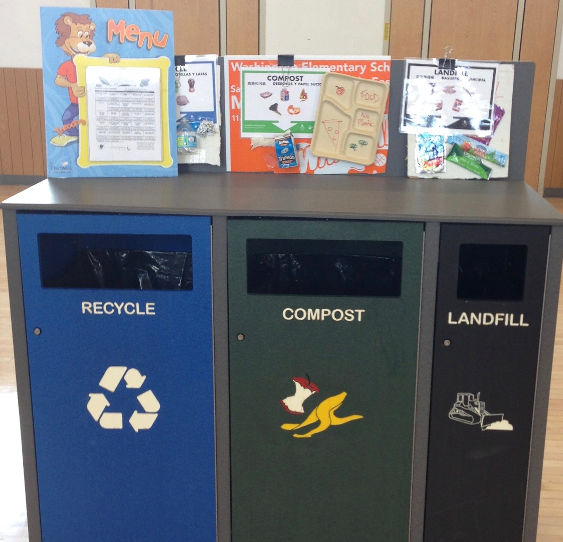 BSD Recycle, Compost and Landfill Bins with Helpful Signage