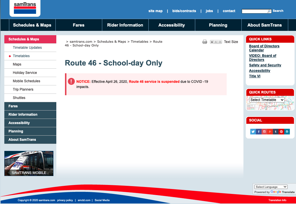 SamTrans Route 46 currently suspended