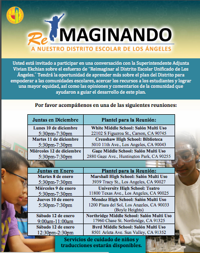 Re-Imagining LAUSD flyer in Spanish