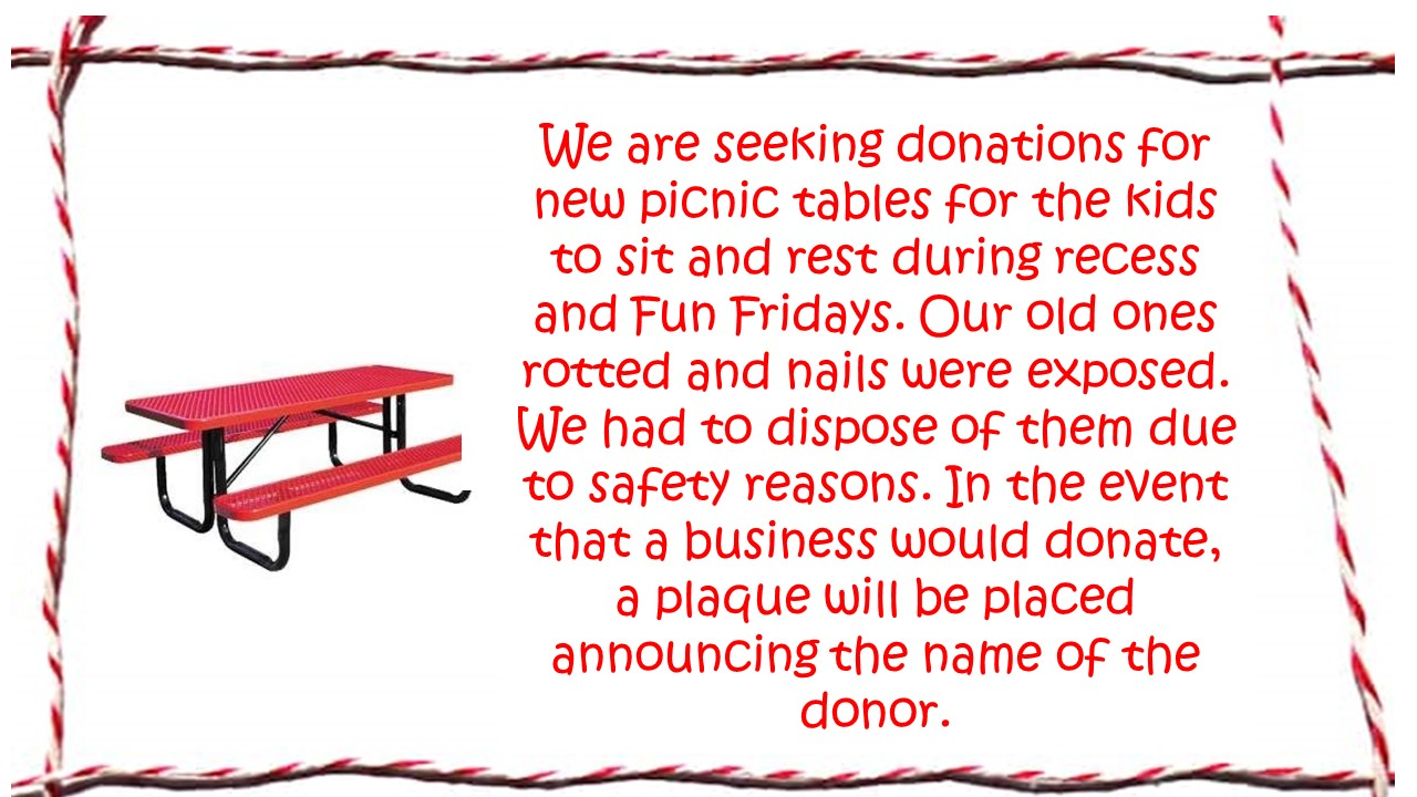 donations for picnic tables