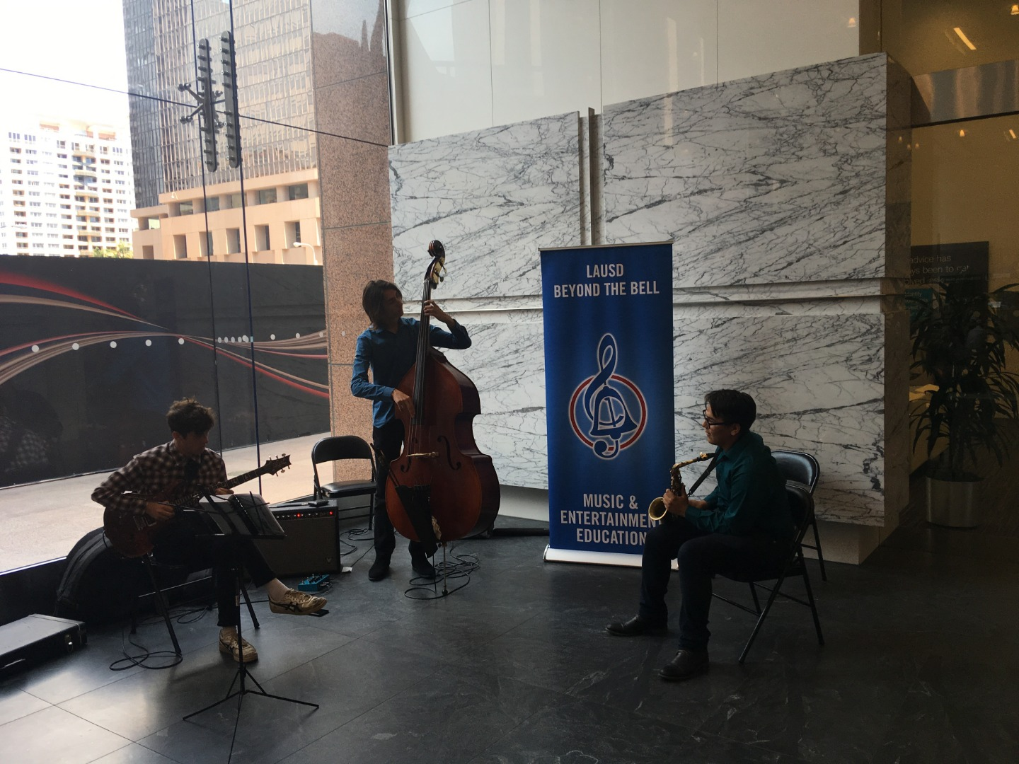 Members of the Jazz Academy performing in Downtown Los Angeles.