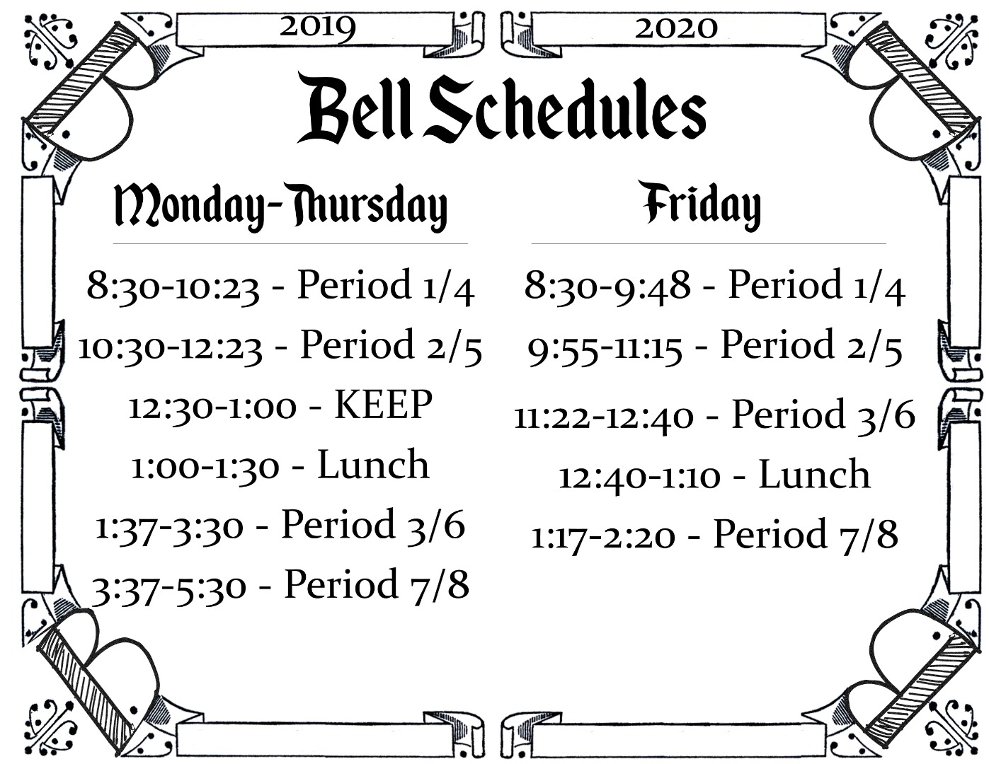 Regular Bell Schedules