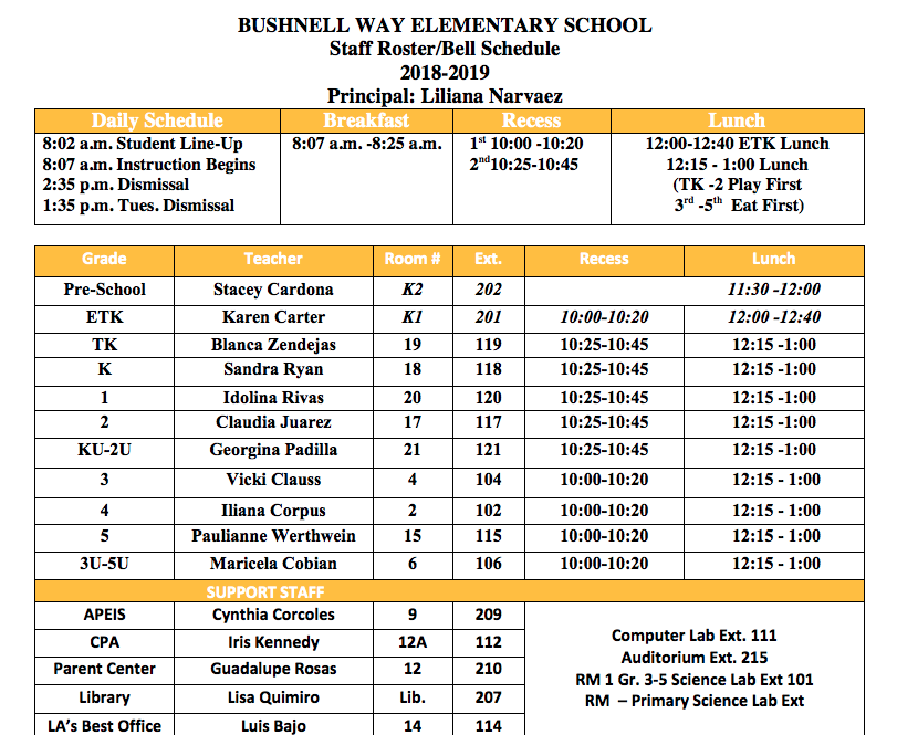 Staff and Bell Schedule