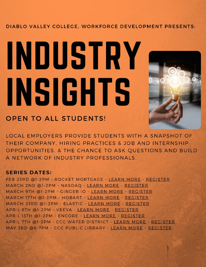 Industry Insights Flyer with Hyperlinks to Virtual Events