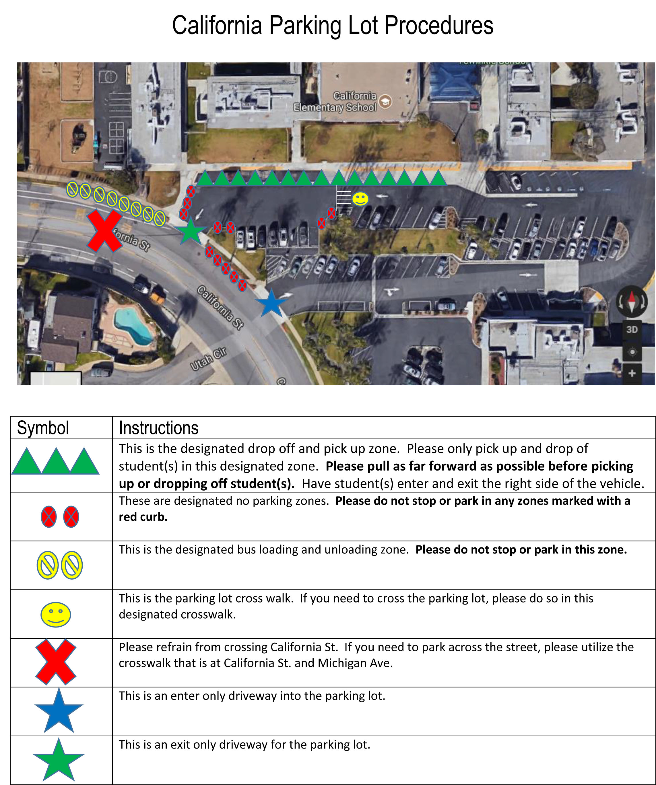 Ariel view of the school parking lot with symbols designating specific areas of  the lot