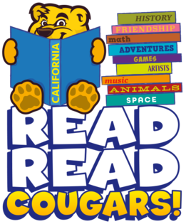 Read, Read Cougars with a Cougar reading a book