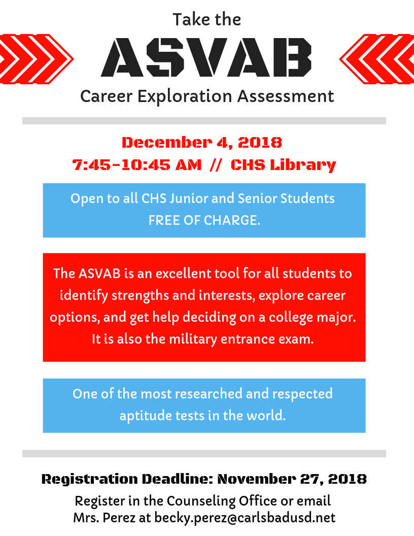 Take the ASVAB on 12/4/18. Sign up in Counseling Office