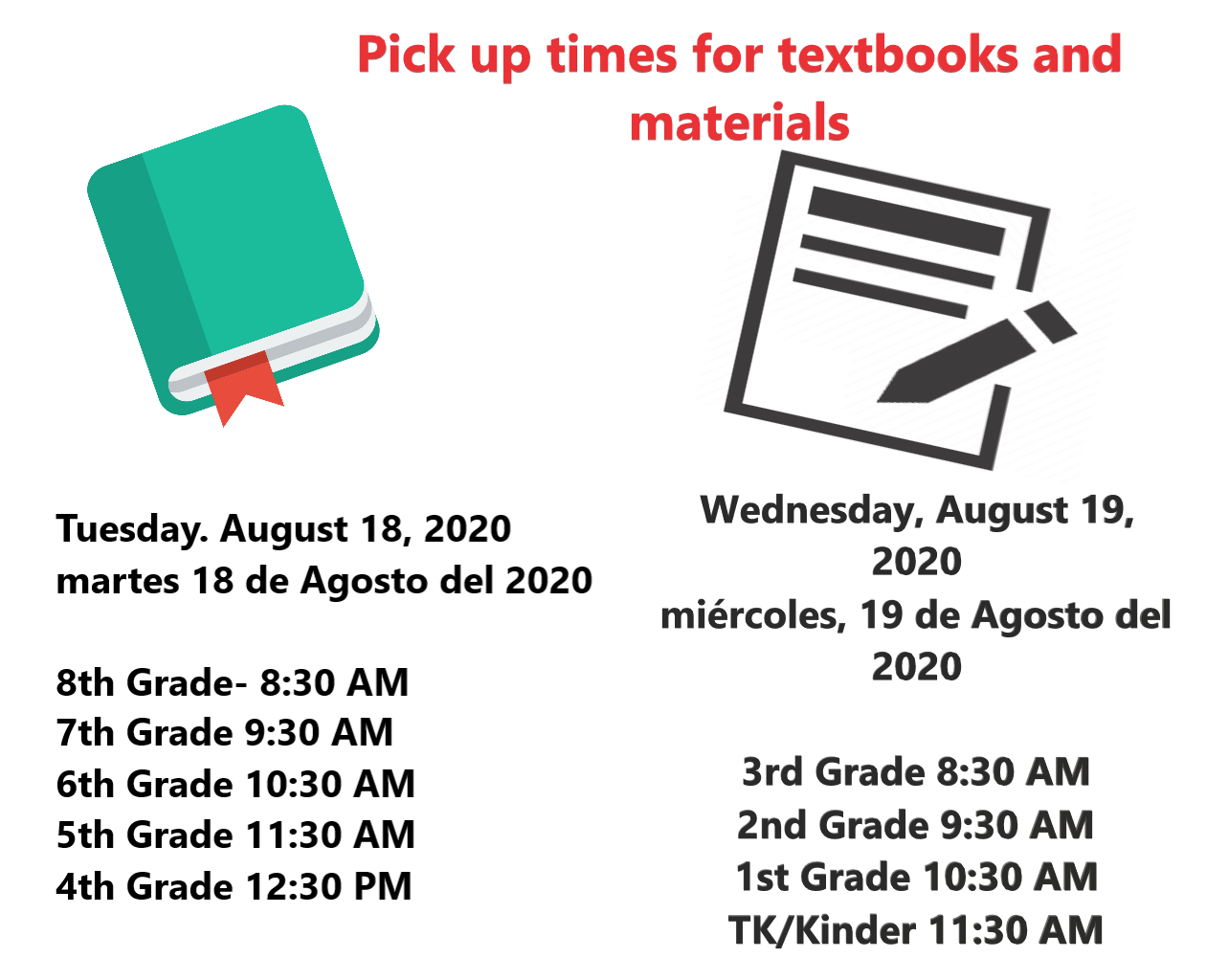 Pick up times for textbooks and other materials