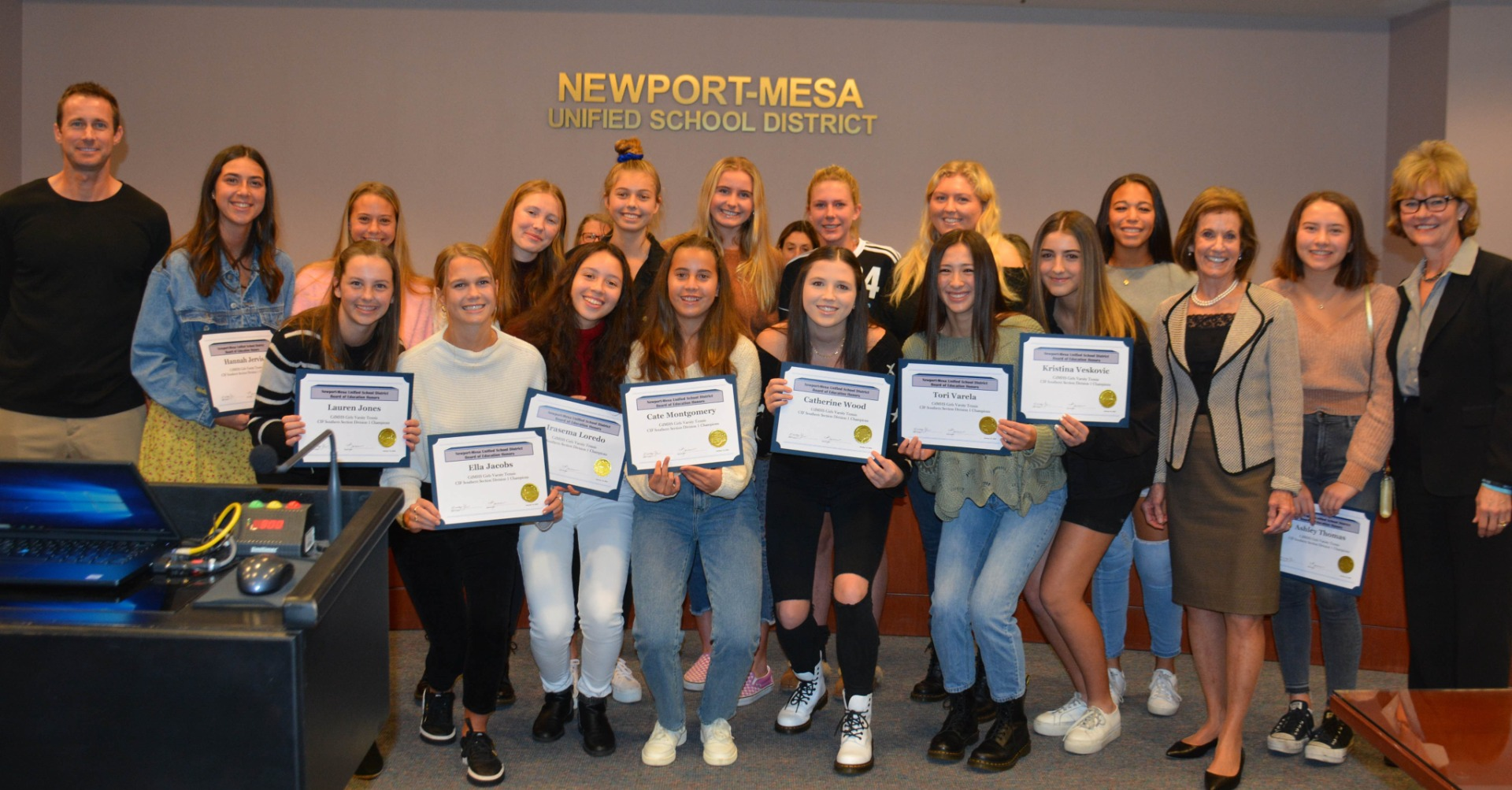 Board recognition Girls Tennis