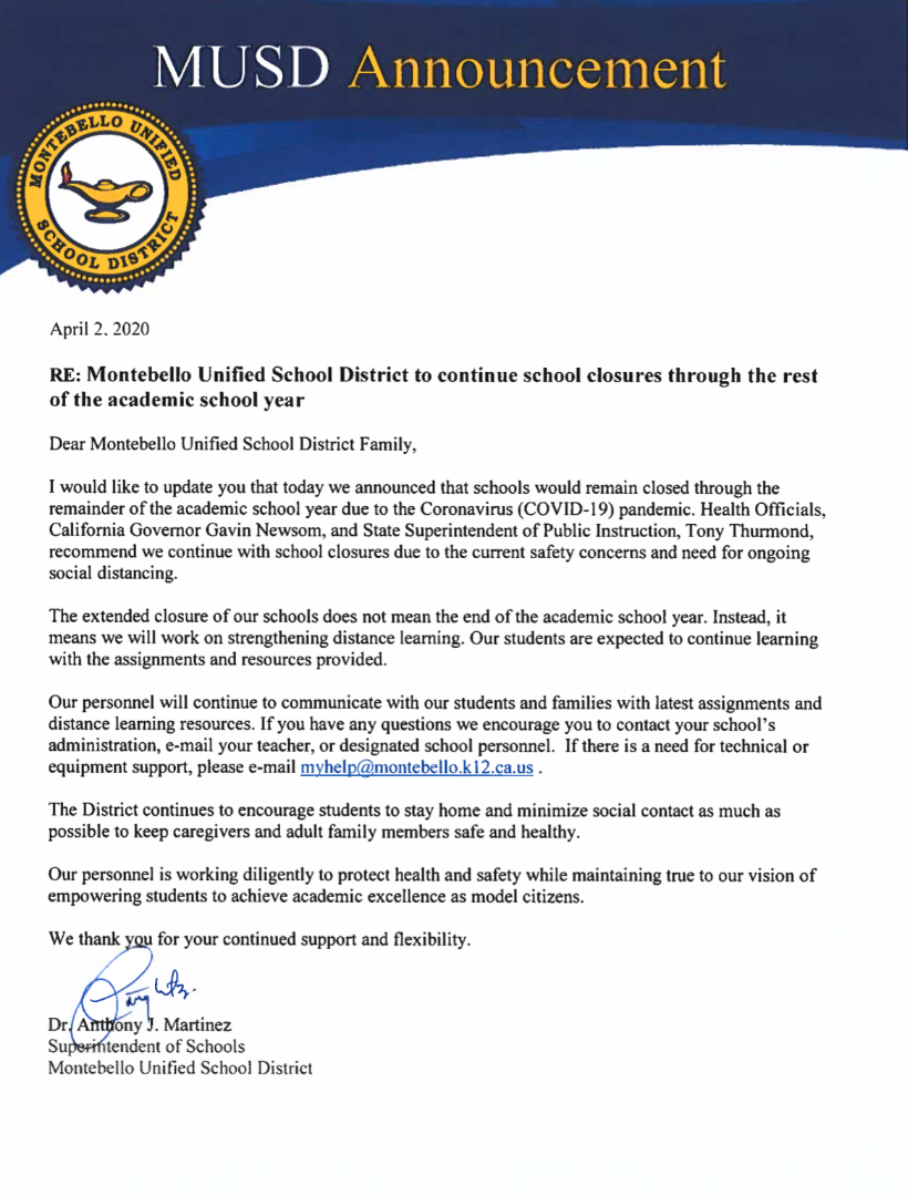Supt MEssage