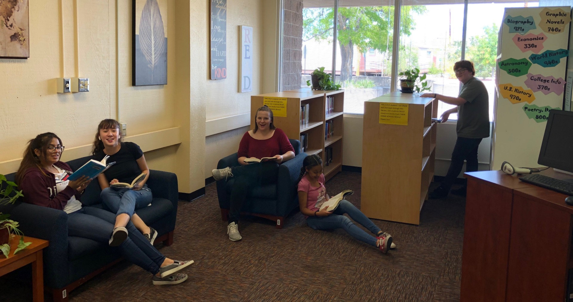 Students reading in the ECA Library