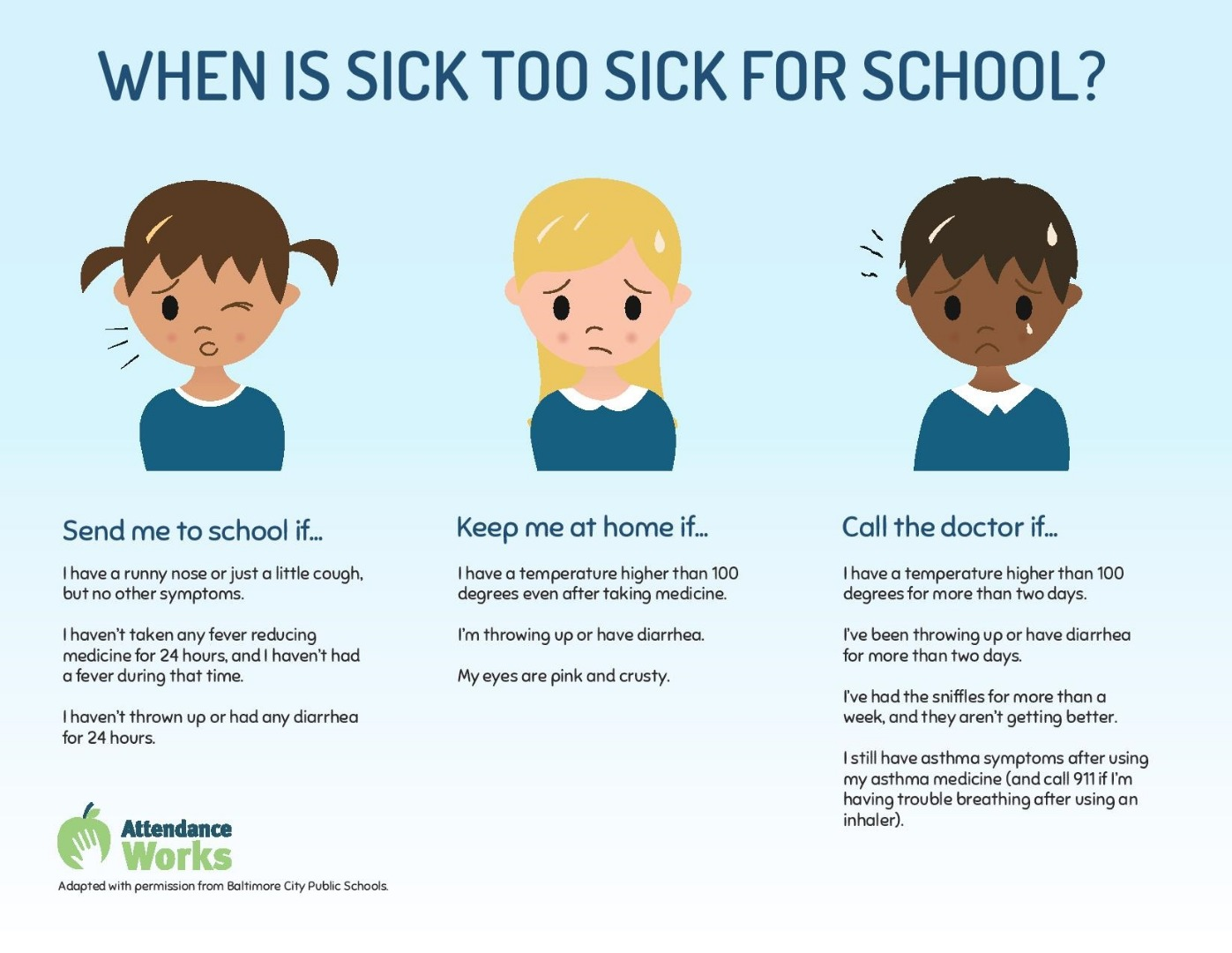Send me to school if I don't have a fever, vomiting or diarrhea.