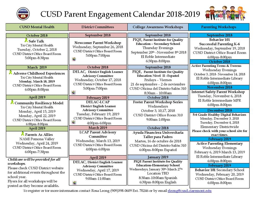 Parent Engagement Calendar