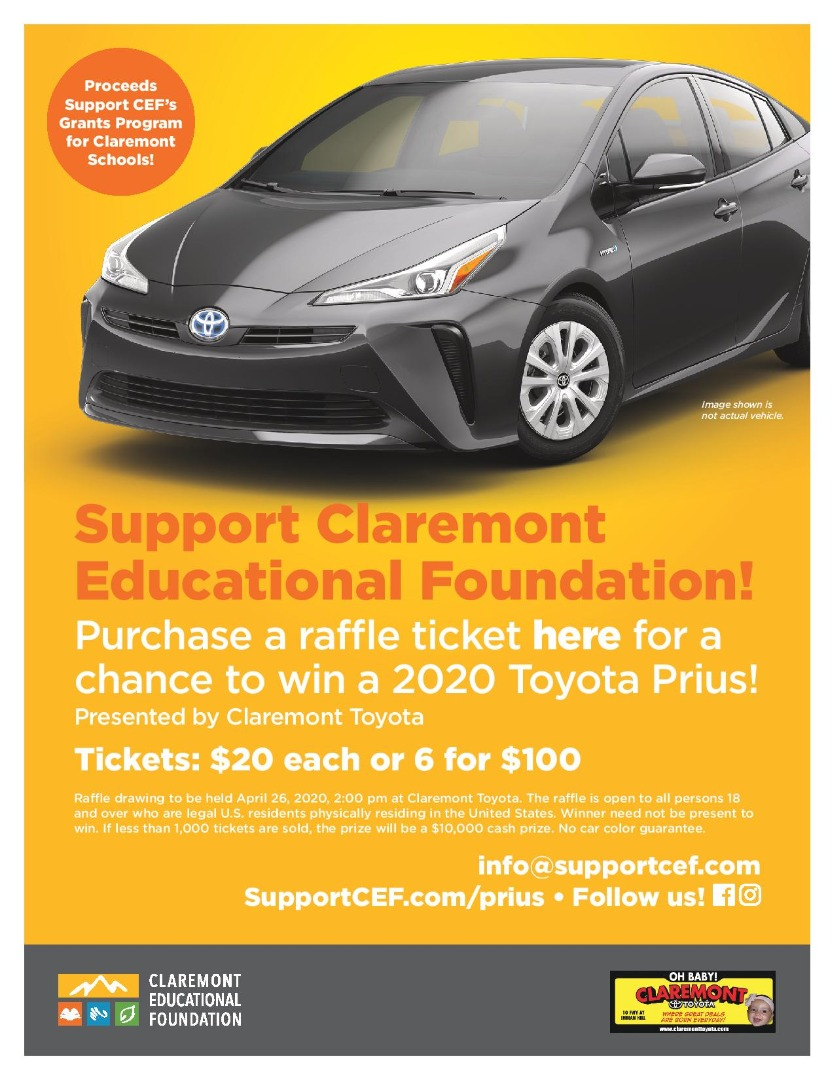 Claremont Educational Foundation Prius Raffle flyer