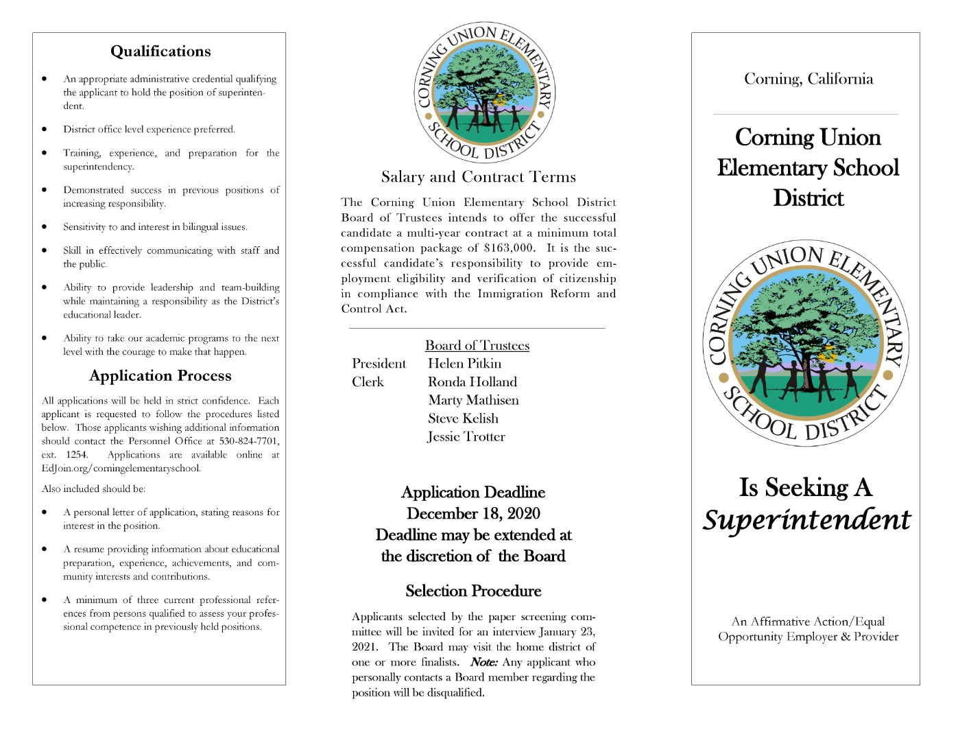 Superintendent Search Brochure Page 1