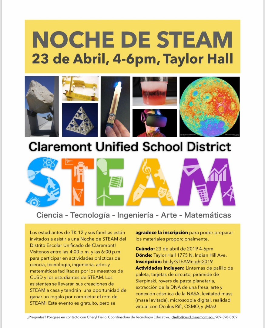 CUSD STEAM Night Flyer Spanish