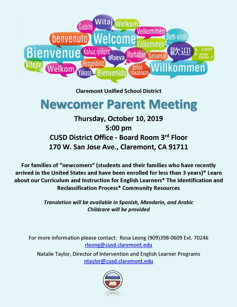 Newcomer Parent Meeting Flyer English