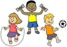 cartoon of kids working out