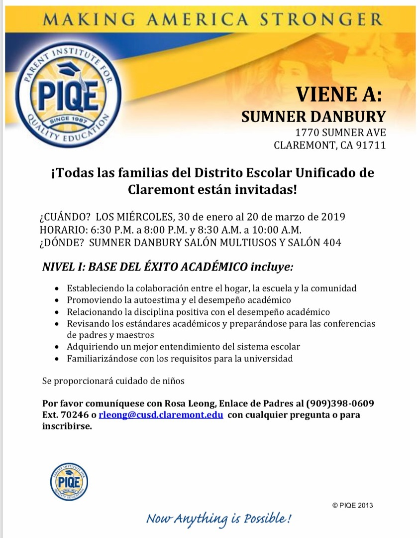 Flyer in Spanish promoting Parent Institute at Sumner Danbury, Jan 30 thru  March 20, 2019