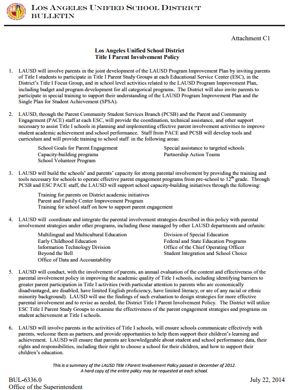 Title 1 Parent Involvement Policy - English