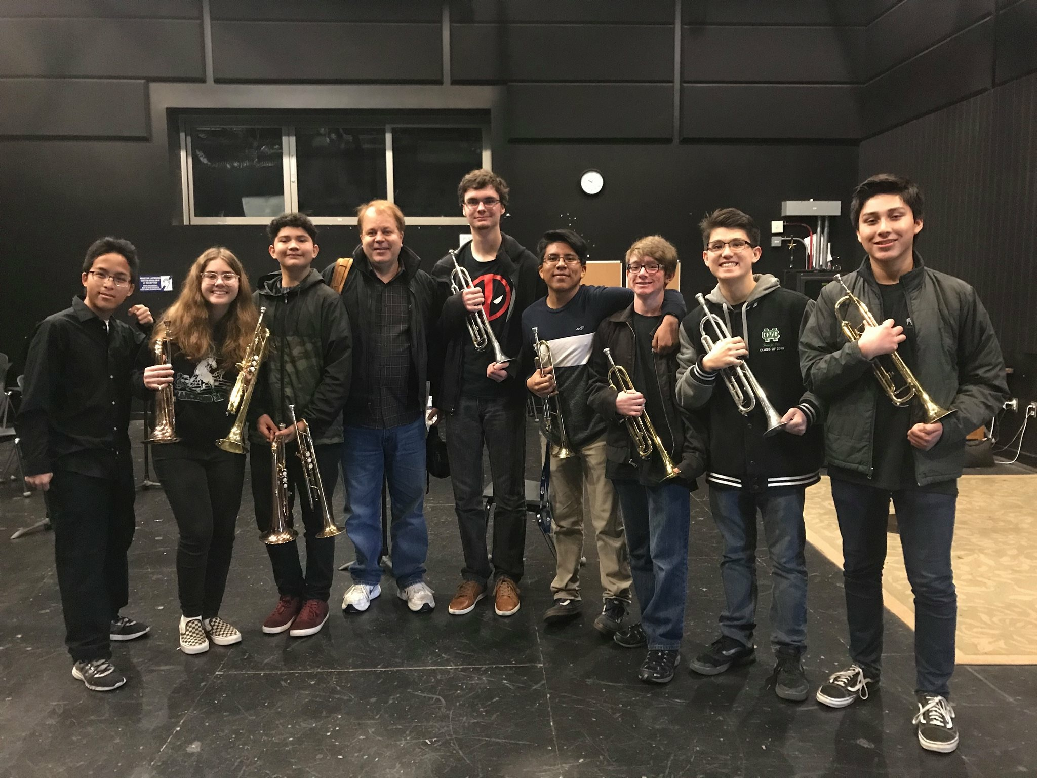 Jazz Band trumpets with Jeff Bunnell at Big Band Workshop