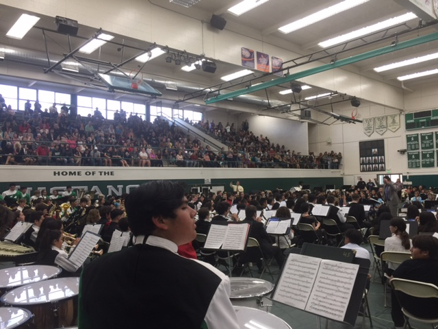 Donovan plays timpani at the NMUSD district band festival