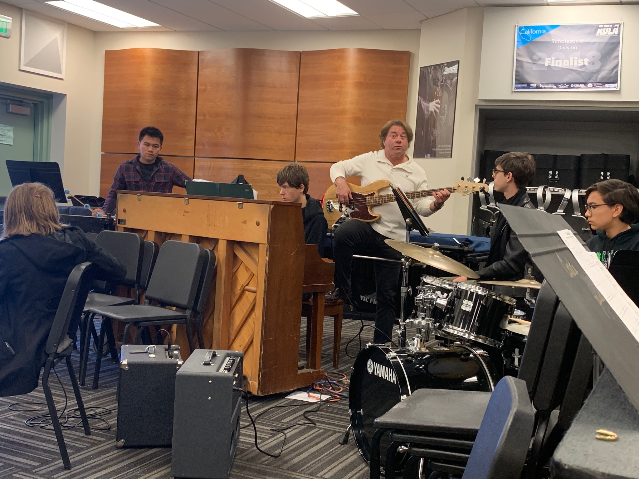 Jazz rhythm section gets pointers from pro, Rick Shaw