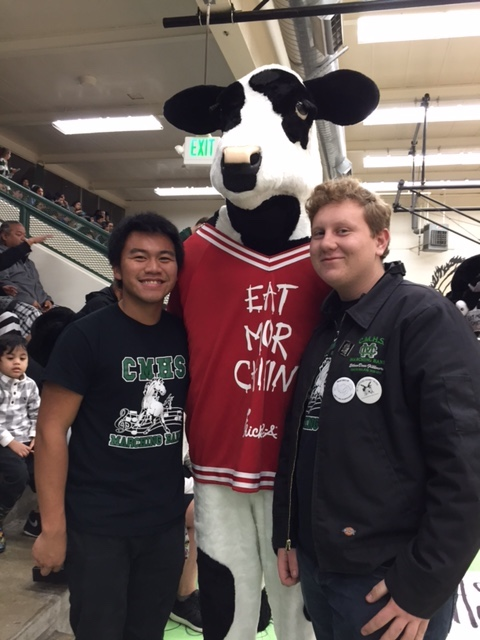Han, Cow   Ethan talk over things at the basketball game