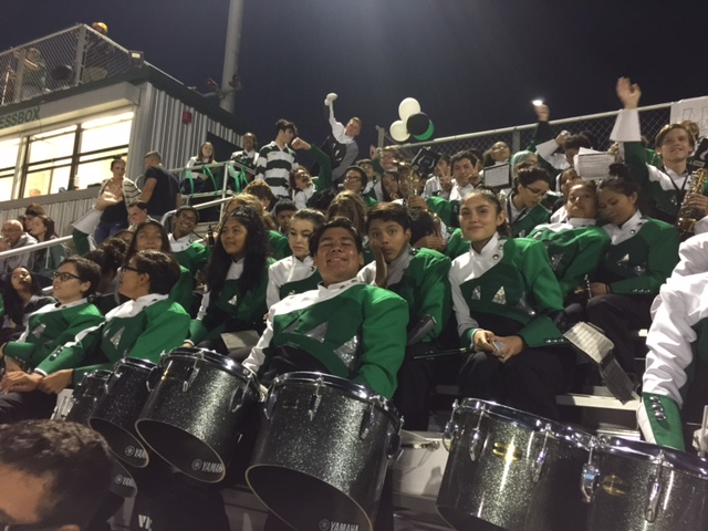 band in the stands at the football game