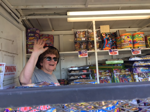 Ruth at fireworks booth